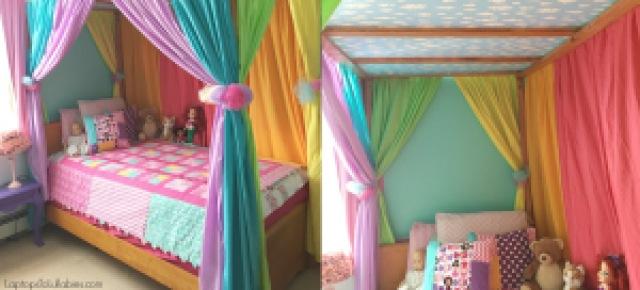 Diy Canopy Bed With Rainbow Curtains Heather S Handmade Life