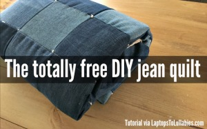 DIY quilt made from old jeans