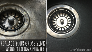 dirty scratched stainless steel sink
